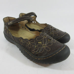 J-41 Lotus Vegan Brown Flats Mary Jane Shoes